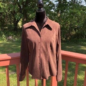 Harold's  button up faux suede jack…